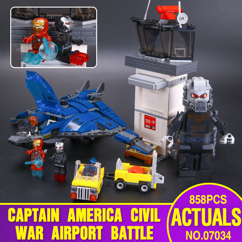 LEPIN 07034 858 Unids Super Heroes Bloques de Construcción Aeropuerto Batalla Qu
