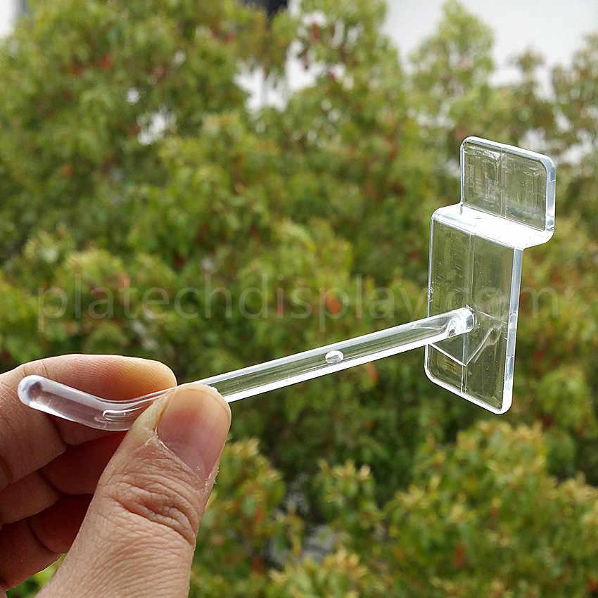 Plastik Melalui Slot Piring Papan Gantung Gantungan untuk Penyimpanan Produk Komoditas Rak Rak Supermarket 100 Pcs