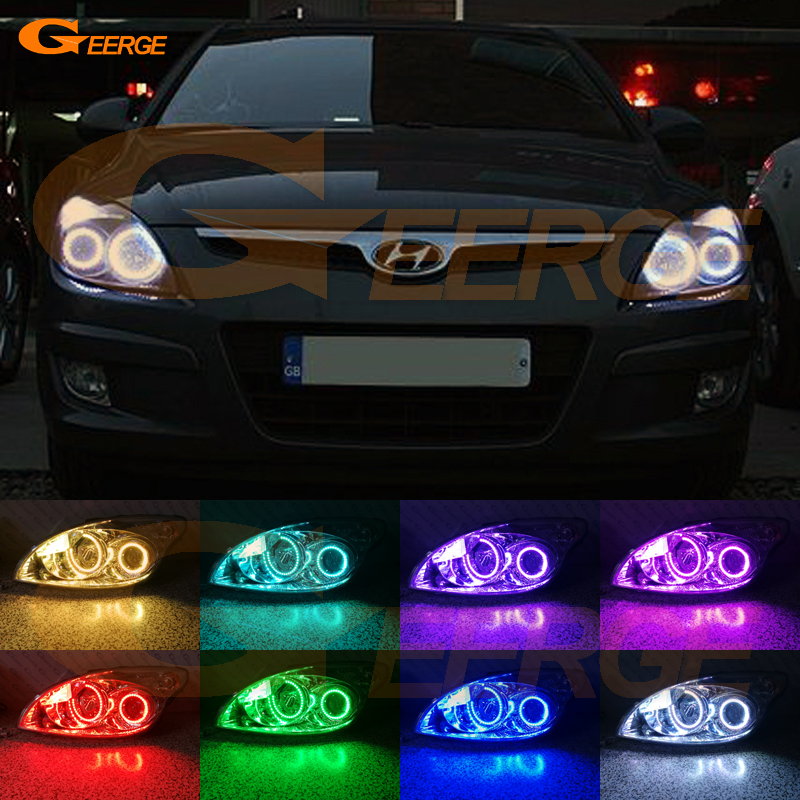 For Hyundai i30 2007 2008 2009 2010 2011 Hatchback Wagon Headlight Excellent Multi-Color Ultra bright RGB LED Angel Eyes kit hyundai accent hatchback ii бу москва