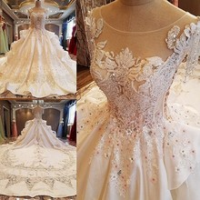 Backlake  Gorgeous ivory bridal gown 3D flowers beading sleeves ball gown lace wedding dress vestidos de noivas real photos