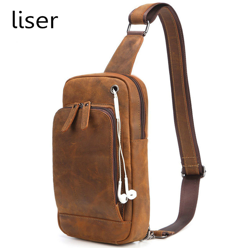 New Stock Mens Chest Bags Genuine Leather Single-shoulder Pack High Quality Crazy Horse Cowhide Cross Body Bag Small Size New Stock Mens Chest Bags Genuine Leather Single-shoulder Pack High Quality Crazy Horse Cowhide Cross Body Bag Small Size