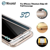 Nicotd 3D Curved Full Cover Tempered Glass For iPhone 6 6s Titanium Alloy Edge Screen Protector Glass Film For iPhone 7 7 Plus