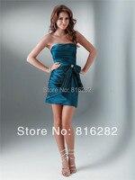 Wholesale 2014 New Sheath Strapless Short Taffeta Royal Blue Bridesmaid Dress With Bow Knot Crystal Beooch