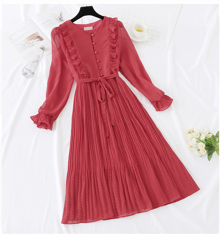 Trytree 19 Autumn Dress Vintage Dot Ruffles women Butterfly Sleeve Shirt Dresses Belt Mid-calf Empire A-line Pleated Hem Dress 5