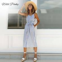 WildPinky Vintage Striped Women Long Dress Sashes Elegant Summer Midi 2019 Casual Fashion Strap Female Beach Vestido