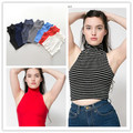 American Brand Retro Temperamental solid color stripe high collar tank womens tees girls crop tops wholesales free shipping