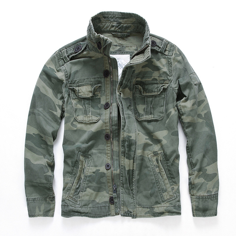 Mens Camouflage Combat Jackets Military Pockets Army Coats Stand Collar Outwear Casual Cotton Male Tactical Jacket
