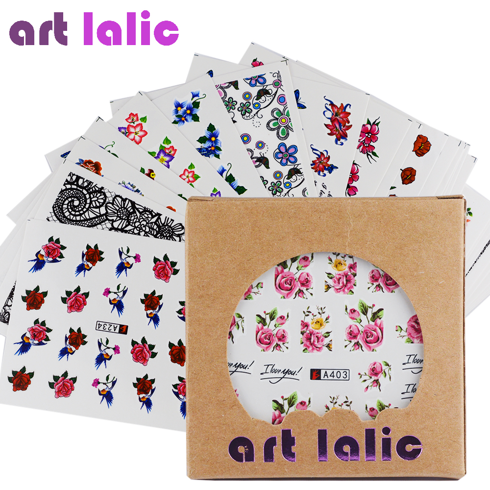 Artlalic 50 Sheets Watermark Nail Stickers Mix Designs Water Transfer Nail Art Decals DIY Salon Usage Decoration Tools 30 sheets lot white lace nail stickers 3d mix design water transfer decals tools beauty nail art diy manicure floral decoration page 8 page 10 page 7
