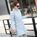 2016 Winter New Fashion Slim Solid Color Medium Long Size Long Sleeve Hooded Causal Women Down Coat