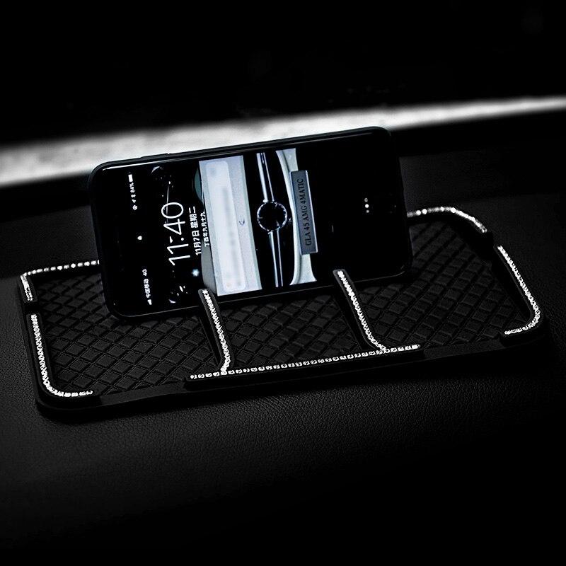 Diamant Auto Anti-Rutsch-matte mit Kristall Nicht-Slip Pading Multi-funktion Auto Anti Slip Klebrige Strass auto Telefon Halter Schlüssel Pads