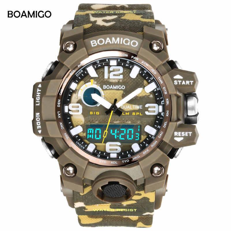 BOAMIGO גברים ספורט שעוני יוקרה מותג S הלם הסוואה ירוק צבאי שעונים הדיגיטלי LED 50 M עמיד למים שעוני יד Relogi