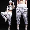 Лучшее качество Хлопка Женский Письмо шаровары 2016 женщин хип-хоп джаз танцевальные костюмы писание повседневные брюки