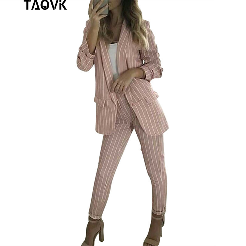 TAOVK Stylish Pant Suits Pale Pink Striped Spring female Sets Buttonless Blazer Jacket Loose Pants 2 Piece Set Work Outfits 2019
