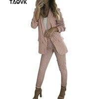 TAOVK office lady two Piece Sets Work Pant Suits black anwhite Blazer Jacket & Pencil Pant OL 2 Pcs Suit Outfits