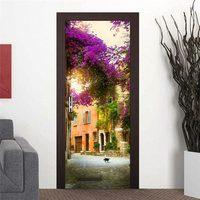 3D Door Wall Fridge Sticker Decals Wrap Mural Scenery Self Adhesive Home Decor, Flower street