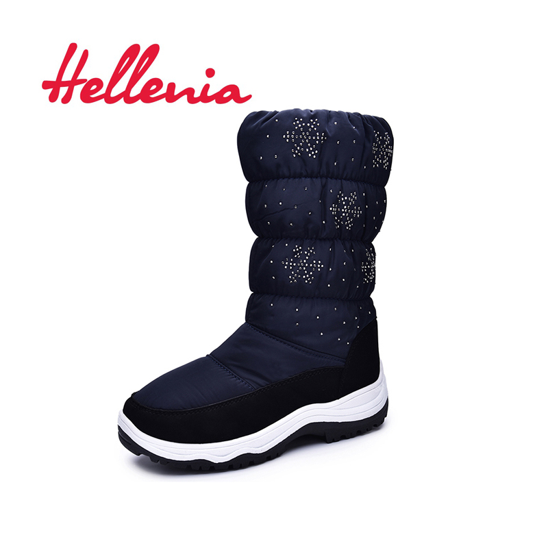Hellenia fashion girls snow boots wool lining ankle boots kids sports outsole warm children shoes winter navy size 33 38