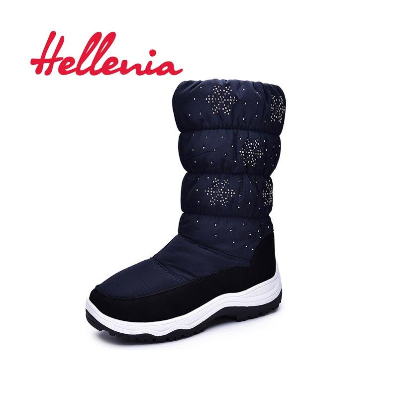 Hellenia ragazze di modo stivali da neve fodera in lana della caviglia stivali di sport dei capretti suola scarpe per bambini caldi di inverno navy taglia 33- 38