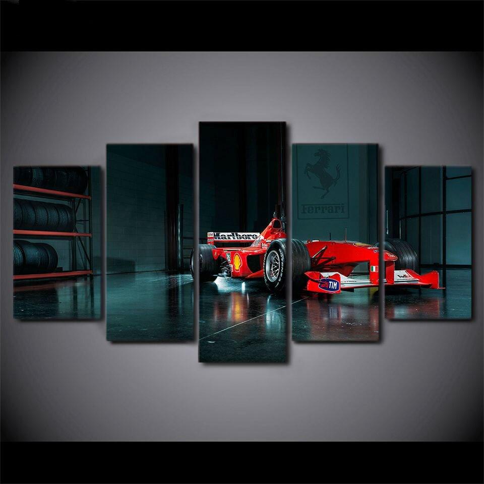 5 Pieces Modern Home Decor Racing Car Wall Art Decoration Canvas