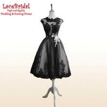 Mode Schwarze Reizvolle Eine Linie Flügelärmeln Wulstige Spitze Cocktailkleider 2016 tee Länge Party Prom Kleider Sommer robe de cocktail TC45
