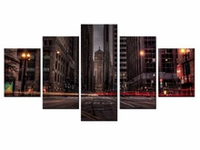 Wholesale 5 pieces / set of Beautiful city landscape wall art for decorating homeDecorative painting on canvas /XC-City-50