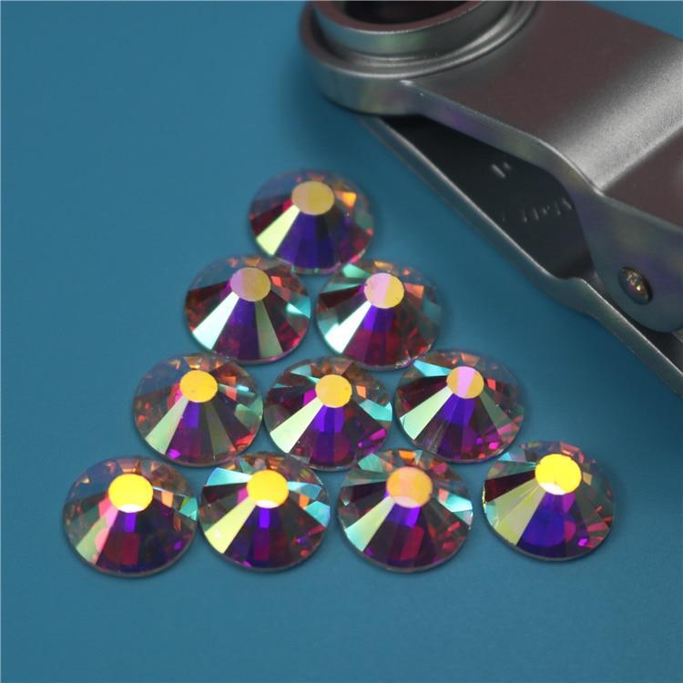 Top Grade Crystal AB Hot Fix Rhinestone Flat back Round Glass Strass Hotfix Iron On Crystal Rhinestones for Fabric Garment