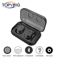 TWS-8 Mini Bluetooth 5.0 Earphone Earbuds Touch Control Hifi Stereo Wireless Waterproof Headset with Charging Box rockspace tws touch control headset hifi stereo earbuds wireless earphone bluetooth portable with microphone earphone