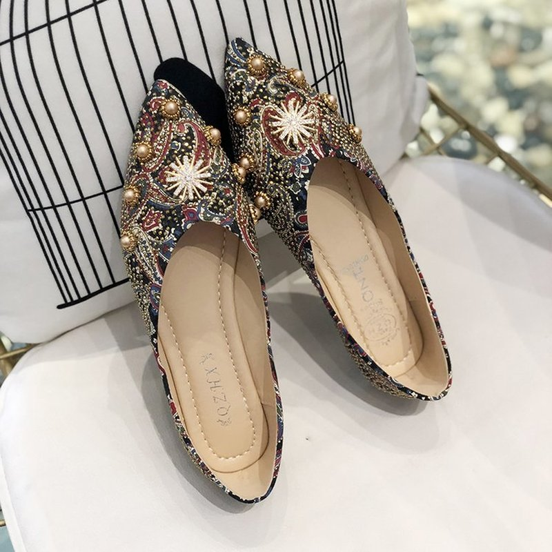 QIUBOSS Woman summer loafer light weight bling shoes Rhinestone wedding shoes summer dress shoes gold color in Women 39 s Pumps from Shoes