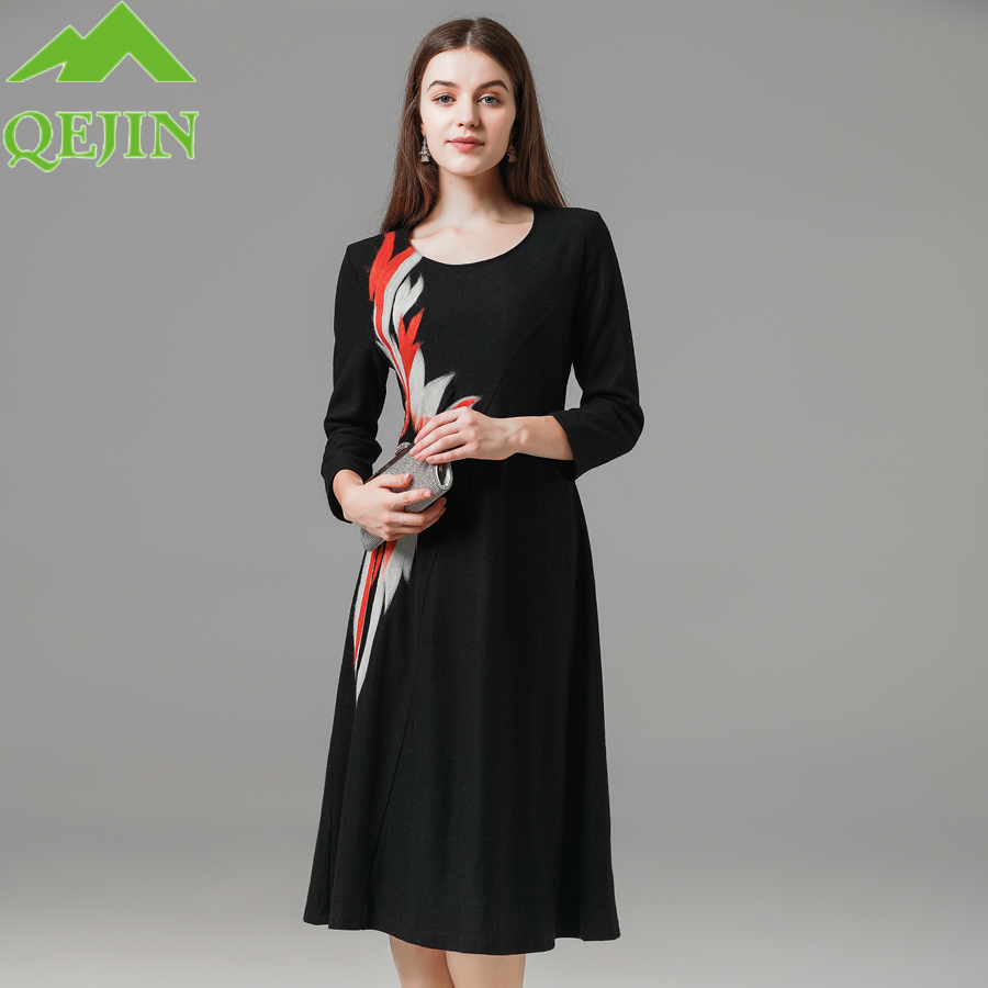 Women's winter Dresses wool female dresses Embroidery Black dress O neck A line warm Casual High Street Fashionable dress loose