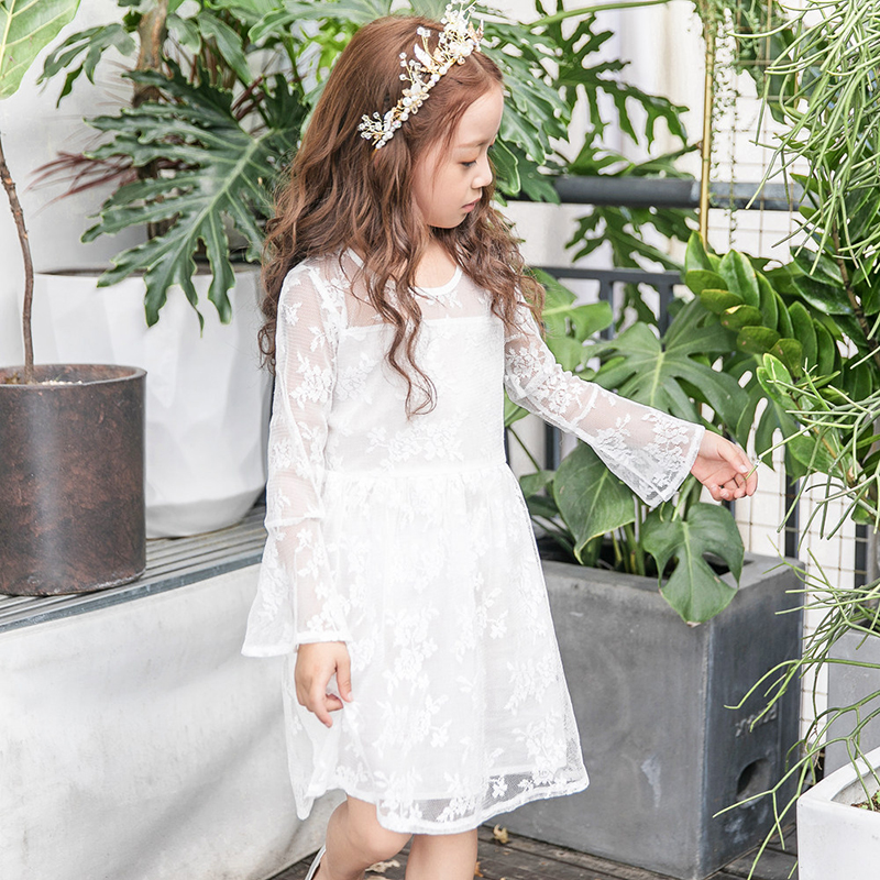 Princess dress girl clothes lace white dress 2018 long-sleeved kids dresses for girls spring children princess clothing children s girls autumn long sleeved korean lace princess dress kids clothing mesh lace white