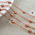 20m/lot rose gold Plated 4mm bead Link Chains Fashion Jewelry Chains for Necklace fit Floating Locket