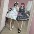 Super Cute Women's Swam Crown Hot Stamping Printing Lolita JSK Dress Suspender Dress with Light Veil Overskirt 2Colors