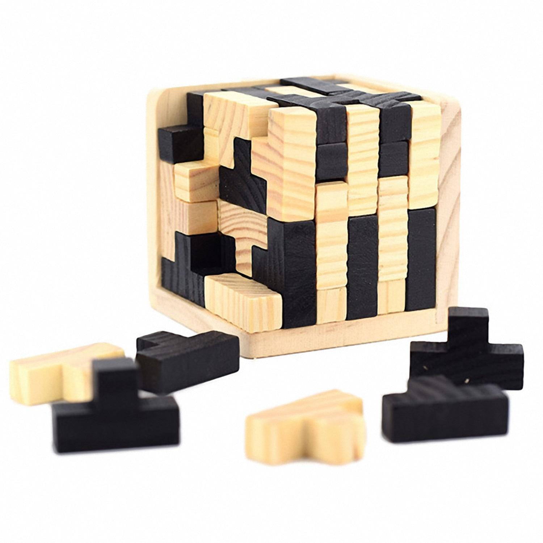 Fbil 3d Wooden Brain Teaser Puzzle Genius Skills Builder T