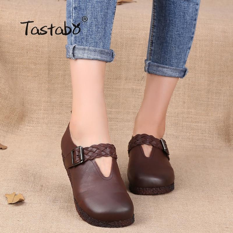 цена на Tastabo women flats woman genuine leather Shoes Women Moccasins Female Casual Shoes Ladies