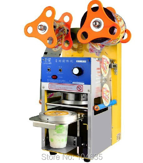 Бесплатная доставка Полностью автоматический пластиковый стаканчик контейнер герметик боба пузырь чай пить сок крышка пленки машина запечатывания крышкой