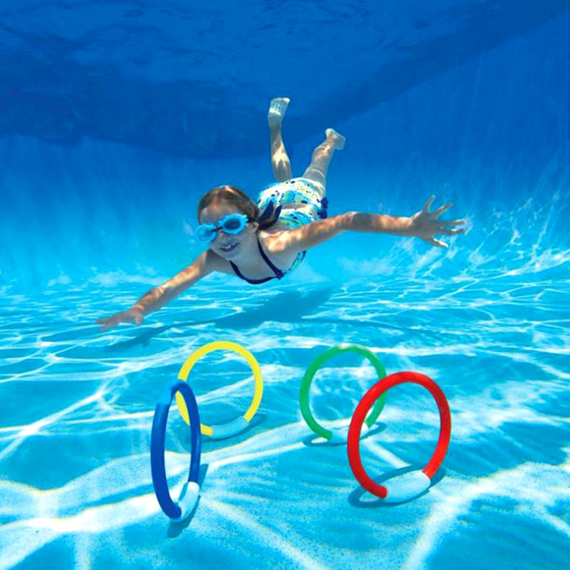 1 lot Of 4Pcs Dive Rings Throwing Toys Swimming Pool Diving Game Summer Children Underwater Diving Ring Water Sport W4-066