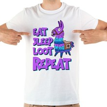 JOLLYPEACH BRAND eat sleep loop repeat funny tshirt men new white short sleeve casual homme cool llama t shirt