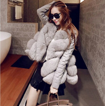 2015 winter plus size one piece fur outerwear female medium long fox fur coat vest