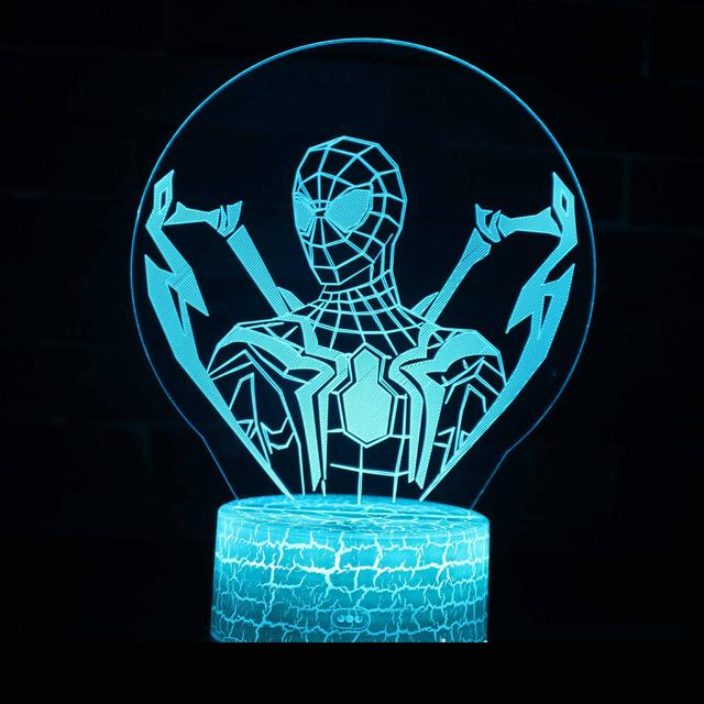 Spider man Series 3d Lamp Creative Gifts Visual Three Dimensional Colorful Night Lamp Novelty Luminaria Led Night Light
