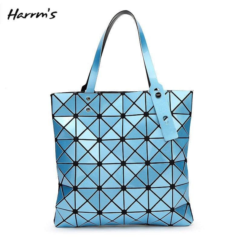15 Farbe Mode Marken Frauen Geometrie Diamant Tote Stepp Schulter Tasche Laser Einfachen Klapp Handtaschen Pu Casual Tote Bao Paket