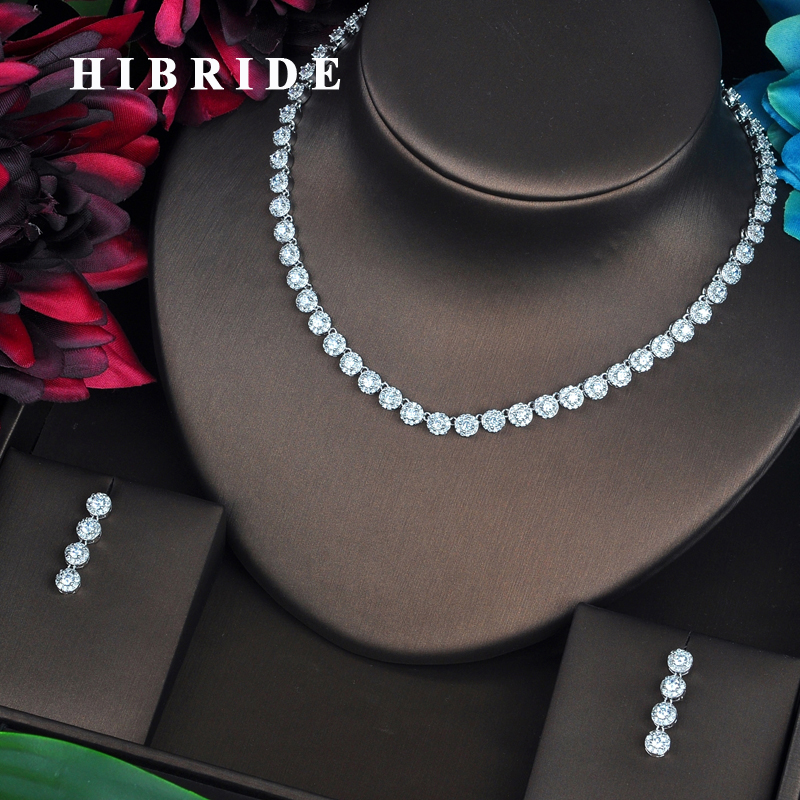 HIBRIDE Round Cut High Quality Cubic Zirconia Fashion Women Jewelry Sets Necklace Set Wedding Dress Accessories Gifts  N-443