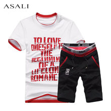 2019 été hommes ensemble hommes survêtement t-shirt + short pantalon décontracté sweat hommes vêtements de sport costumes été Style hommes ensemble sweat(China)