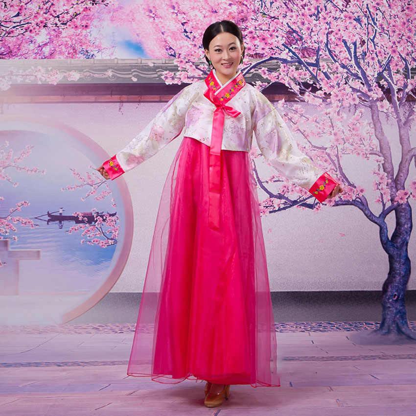 Традиционное платье для выступлений, одежда для дворца, вечернее трикотажное платье для женщин, Элегантные корейские атласные костюмы с вышивкой