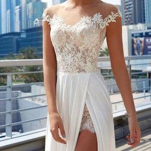 Image 2 - LORIE vestidos de novia de playa 2019 vestido de novia elegante Top de Encaje Vintage vestido de novia marfil vestido de novia Boho partido lateral