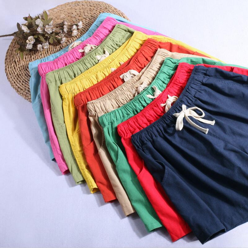 2019 New Plus Size 4XL Summer Casual Cotton Linen Women Short Solid Color Elastic Waist/Pocket Large Loose Short Trouser Black