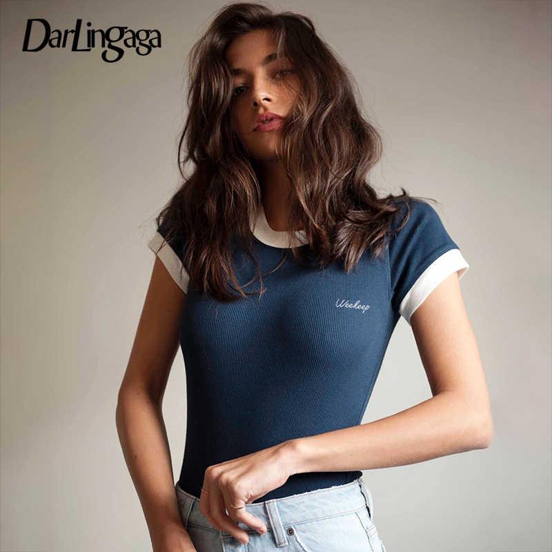 Darlingaga хлопковый модный сексуальный боди Топ с буквенной вышивкой короткий рукав обтягивающие Женские Боди 2019 комбинезон уличная одежда