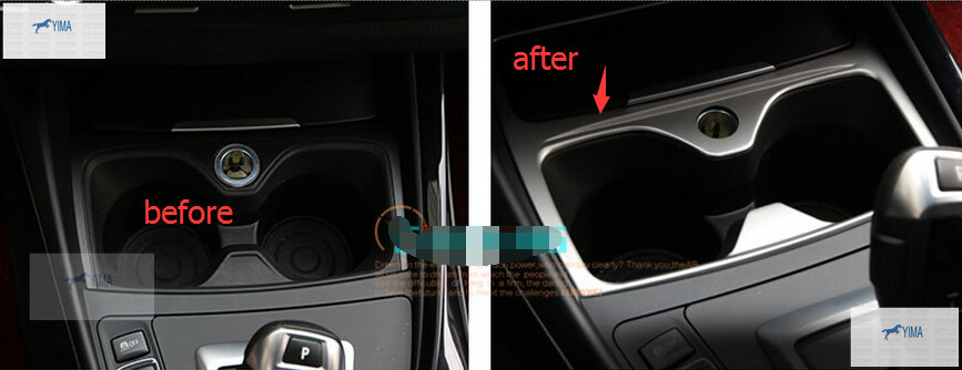 Stainless Steel Cup holder decorative Cover Trim Molding Garnish 1pcs For BMW 1 Series 116i 118i F20