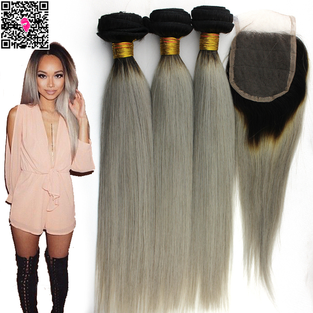 Two Tone 1b Grey Virgin Hair Weave Lace Closure With Bundles