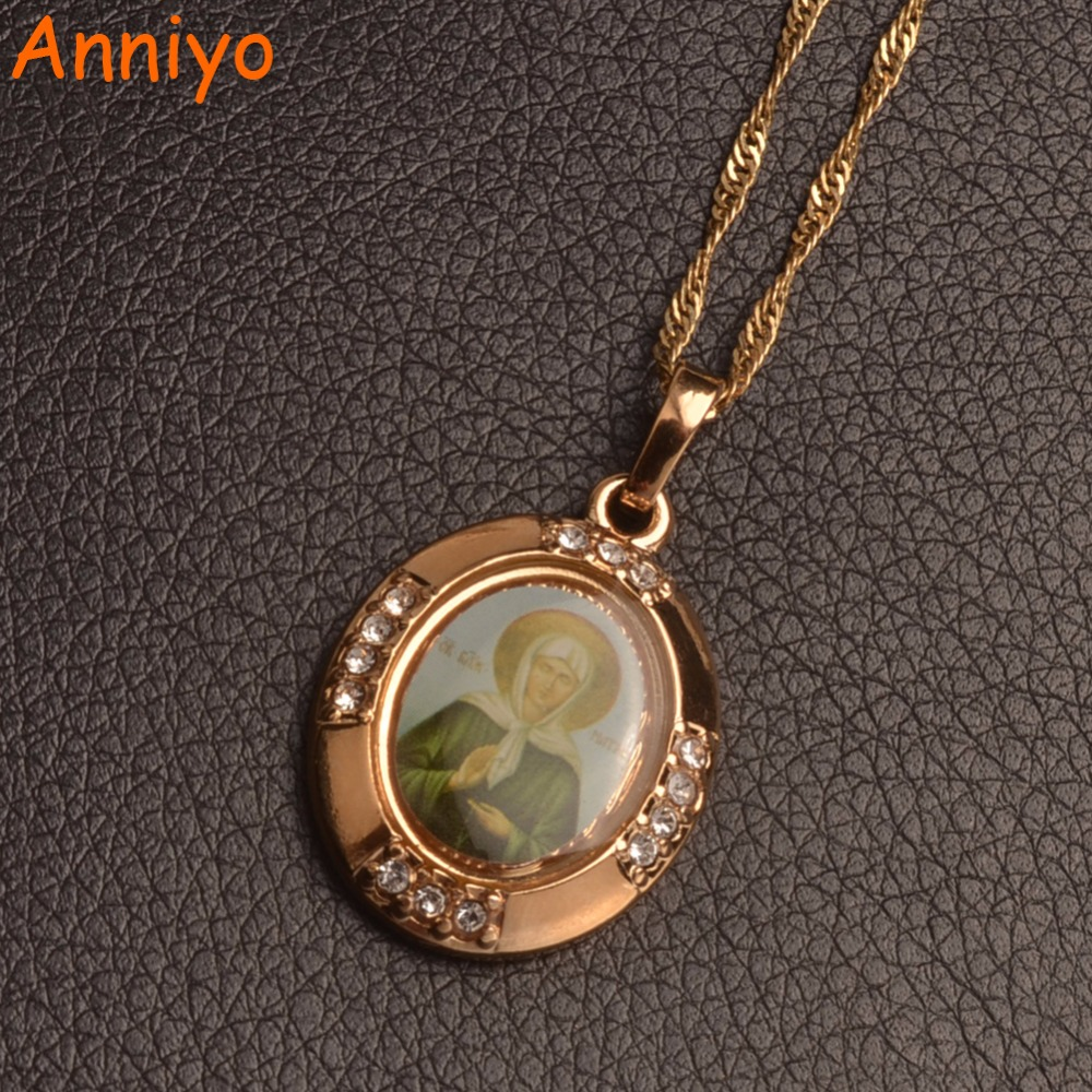 Anniyo Russia Blessed Matrona of Moscow Pendant Necklaces Catholicism/Orthodox Church Virgin Mary Jewelry #055804