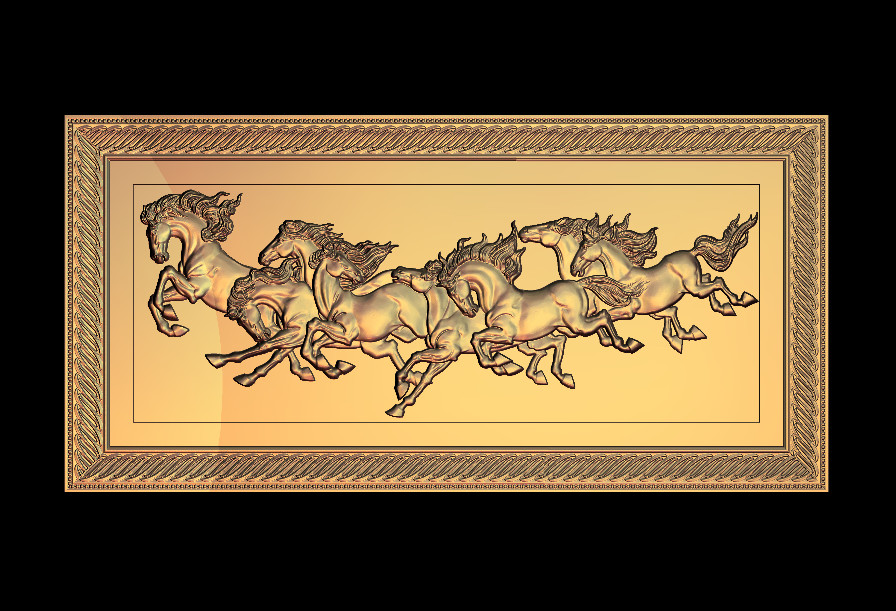 7 Horses 3D Relief Model In STL Format CNC Router Carving Engraving Artcam Aspire M123