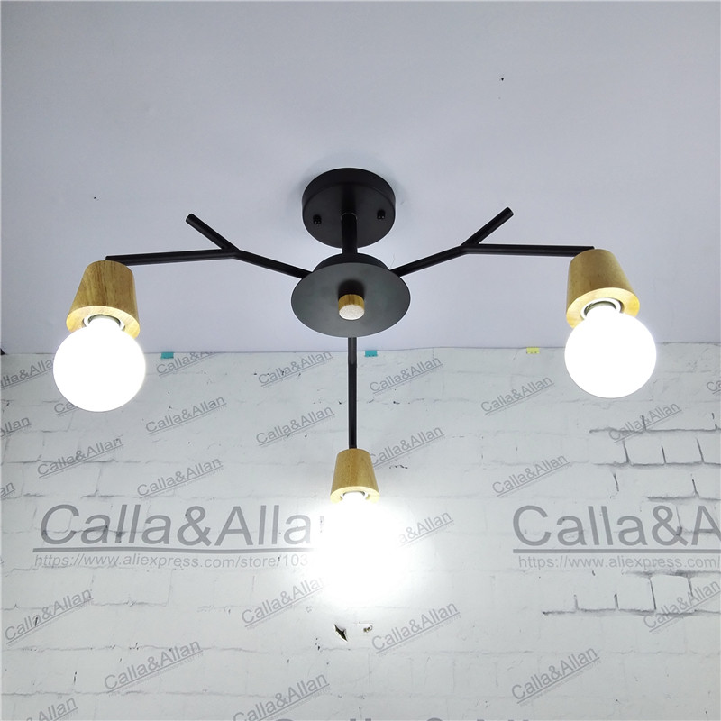 Free ship 3-arm wood socket iron chandelier wooden lamp holders E27 AC110V/220V edison light fixture black iron wood chandelier